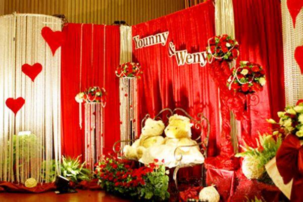 婚庆红色纱幔背景